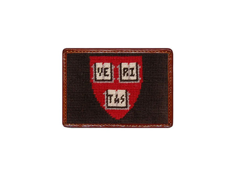Needlepoint Collection | Harvard University Needlepoint Card Wallet | 4 by 3 Inch | Black and Red | Smathers and Branson-Card Wallet-Sterling-and-Burke