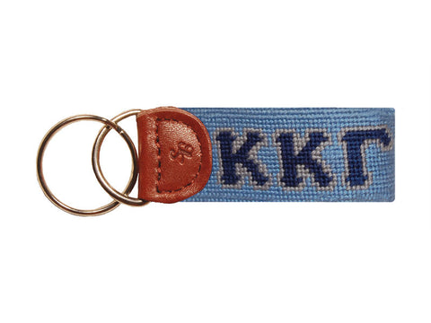 Needlepoint Collection | Kappa Kappa Gamma Needlepoint Key Fob | Classic Blue | Smathers and Branson-Key Fob-Sterling-and-Burke