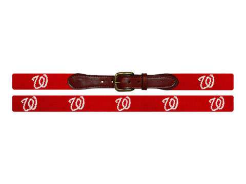 Needlepoint Collection | Washington Nationals Needlepoint Belt | Red | Smathers and Branson-Belt-Sterling-and-Burke