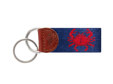 Crab Needlepoint Key Fob