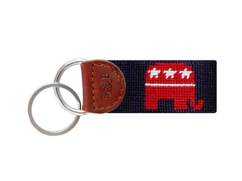 Republican Needlepoint Key Fob-Key Fob-Sterling-and-Burke