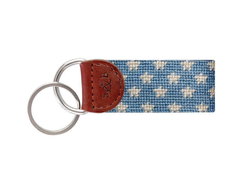 Needlepoint Collection | Stars & Stripes Needlepoint Key Fob | Sky and White | Smathers and Branson-Key Fob-Sterling-and-Burke