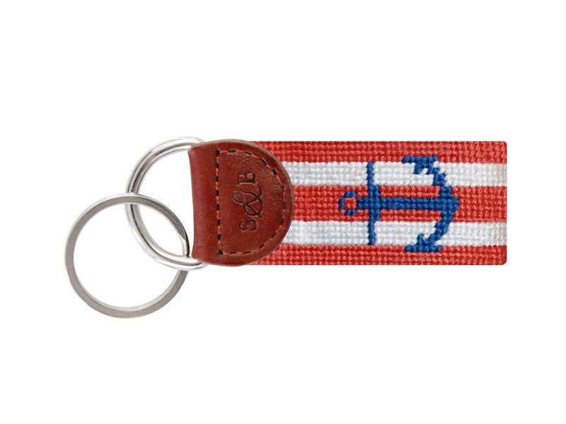 Striped Anchor Needlepoint Key Fob, Coral & White-Key Fob-Sterling-and-Burke