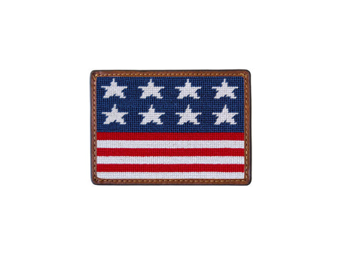 Needlepoint Collection | Old Glory Needlepoint Card Wallet | 4 by 3 Inch | Red and Blue | Smathers and Branson