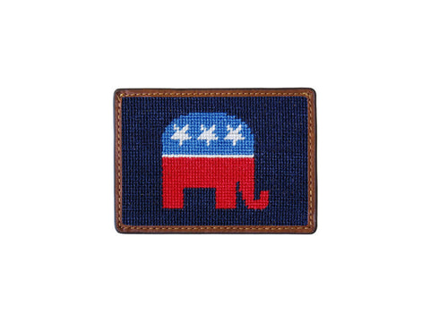 Needlepoint Collection | Republican Needlepoint Card Wallet | 4 by 3 Inch | Navy | Smathers and Branson
