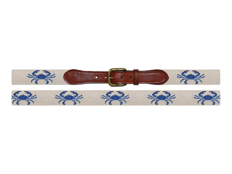Needlepoint Collection | Blue Crab Needlepoint Belt | Smathers and Branson-Belt-Sterling-and-Burke