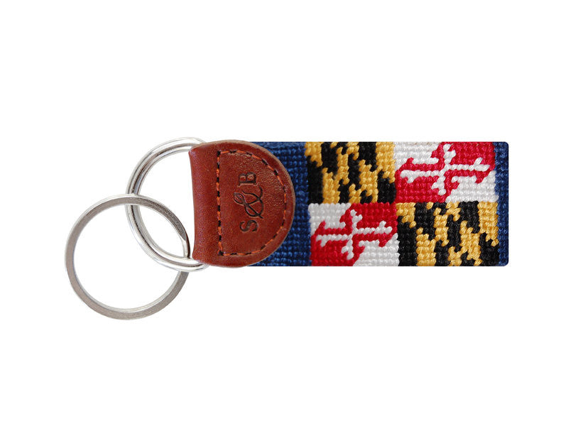 Maryland State Flag Needlepoint Key Fob-Key Fob-Sterling-and-Burke