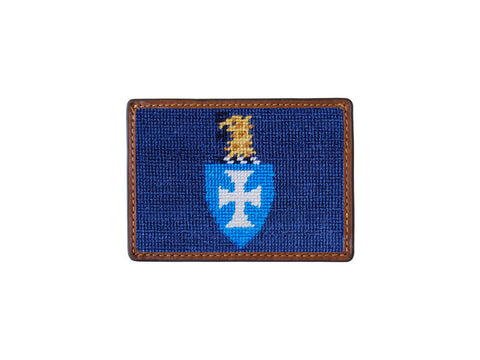 Needlepoint Collection | Sigma Chi Needlepoint Card Wallet | 4 by 3 Inch | Blue and Gold | Smathers and Branson