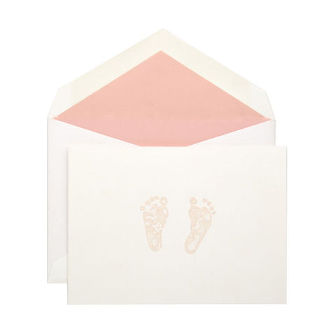 Baby Card | Boy or Girl Footprint | Blue and Pink Feet | Engraved Card Stationery-Stationery-Sterling-and-Burke