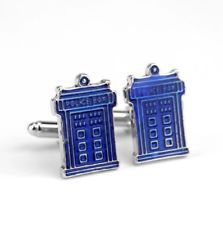 Novelty Cufflinks | Dr. Who Police Box Cufflinks | Blue | Sterling and Burke | Made in USA