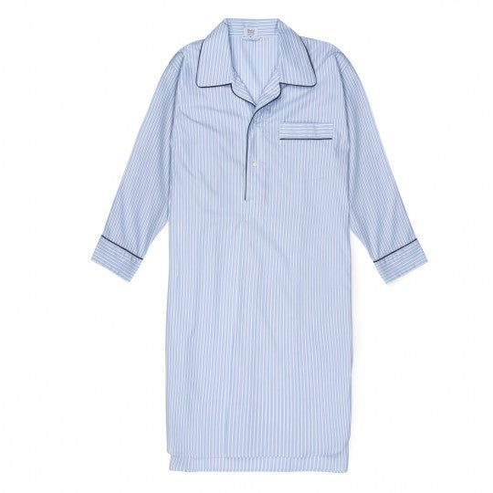 Budd Sleepwear | Exclusive Budd Stripe Cotton Nightshirt | Sky Blue | Budd Shirtmakers | Made in England-Nightshirt-Sterling-and-Burke