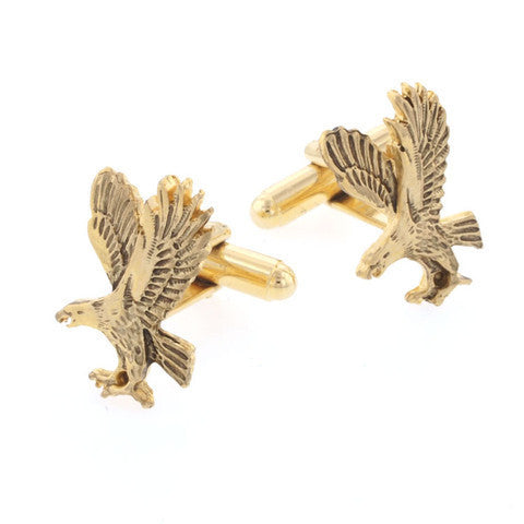Gold Flying Eagle Cufflinks-Cufflinks-Sterling-and-Burke