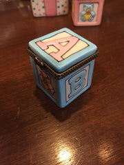 Baby Boy ABC Block | Limoges Style | Porcelain Box-Limoges Style Box-Sterling-and-Burke