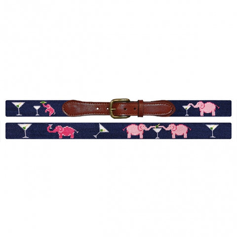 Elephant and Martini | Needlepoint Belt | DC Store | Smathers Branson-Belt-Sterling-and-Burke