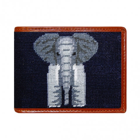Needlepoint Collection | Elephant Needlepoint Bi-Fold Wallet | Hip Wallet | Midnight Navy | Smathers and Branson