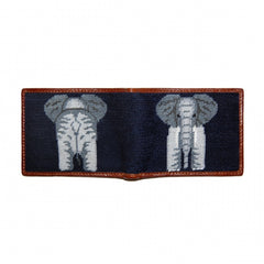 Elephant | Needlepoint Bi-Fold Wallet-Wallet-Sterling-and-Burke