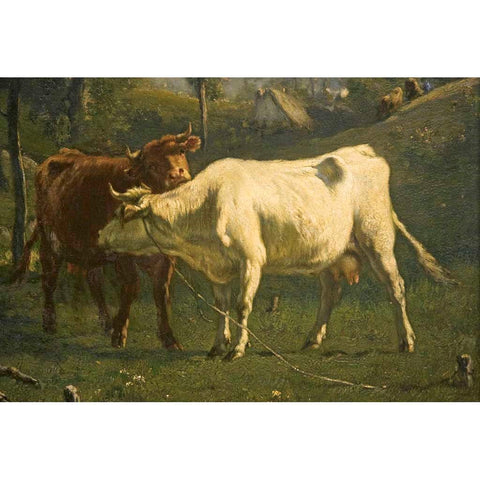 Antique Oil Painting | Cows Grazing in a Pasture by Emile Van Marcke De Lummen | 32 by 39 Inches-Oil Painting-Sterling-and-Burke