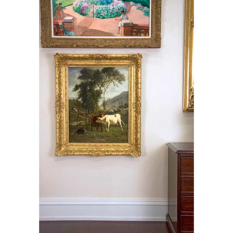 "Antique Oil Painting | Cows Grazing in a Pasture by Emile Van Marcke De Lummen | 32"" x 39""-Oil Painting-Sterling-and-Burke"