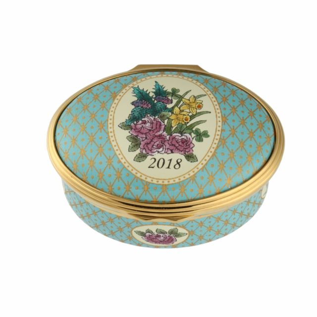 Enamel Box | 2018 Annual Year Box | Halcyon Days | Made in England-Enamel Box-Sterling-and-Burke