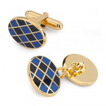 Oval Enamel Diamond T-Bar Cufflinks, Blue and Navy-Enamel Cufflinks-Sterling-and-Burke
