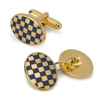 Oval Enamel Check T-Bar Cufflinks, Navy-Enamel Cufflinks-Sterling-and-Burke