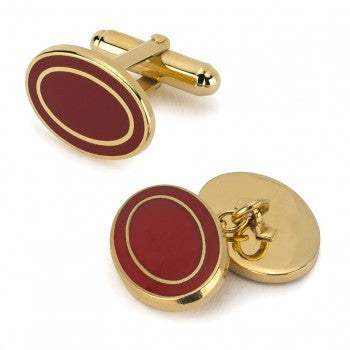Oval Enamel T-Bar Cufflinks, Red-Enamel Cufflinks-Sterling-and-Burke