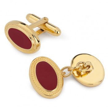 Oval Enamel Cufflinks, Red with Gold Filigree-Enamel Cufflinks-Sterling-and-Burke