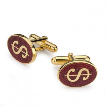 Oval Enamel Dollar Symbol T-Bar Cufflinks | Red | Made in England | Sterling and Burke