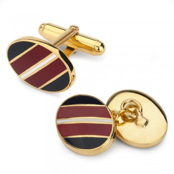 Oval Stripe Enamel T-Bar Cufflinks, Navy, Red, and White-Enamel Cufflinks-Sterling-and-Burke