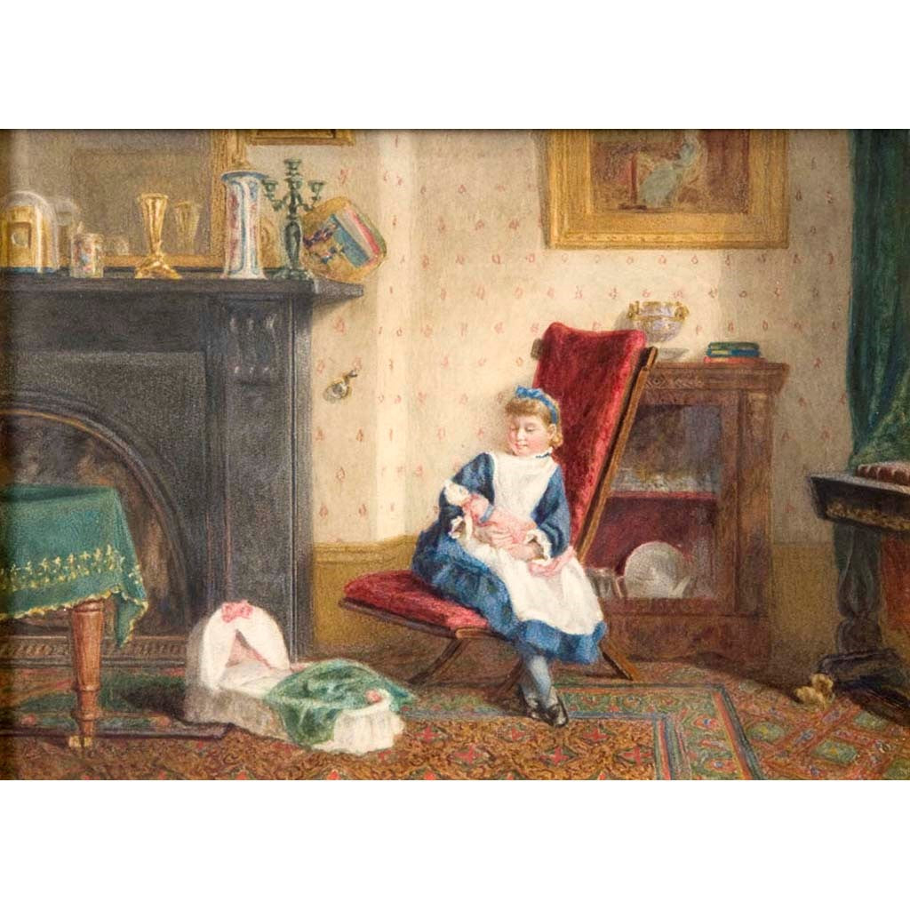 "Antique Watercolor Painting | Interior of Hine Family House, 1872 by Esther Hine | 15.5"" x 19""-Watercolor-Sterling-and-Burke"