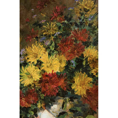 Antique Oil Painting | Still Life of Flowers with Clarinet by Eugene Henri Cauchois | 40 by 33 Inches-Oil Painting-Sterling-and-Burke