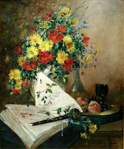 Antique Oil Painting | Still Life of Flowers with Clarinet by Eugene Henri Cauchois | 40 by 33 Inches