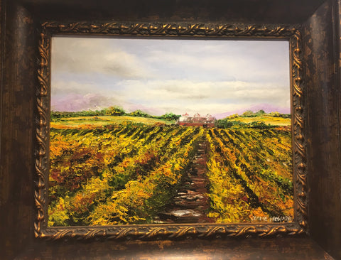 "Art | After the Wine Harvest | Oil Painting by Claire Howard | 16"" by 19"""