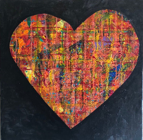 I Love You! I Love You! | Original Acrylic Mixed on Gallery Canvas by Fabiano Amin | 24 by 24 Inches-Acrylic Painting-Sterling-and-Burke