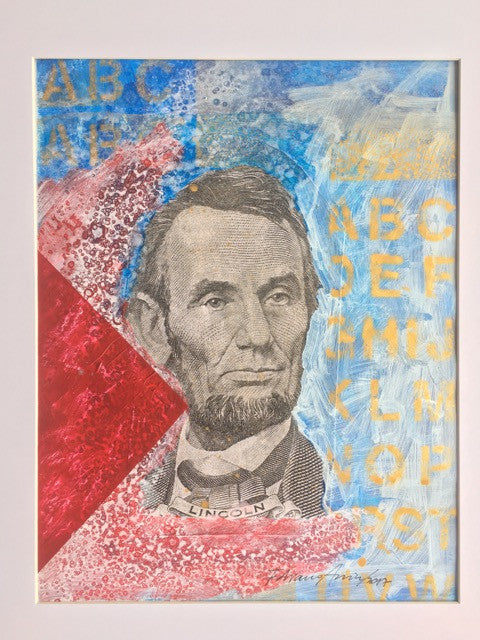 "Art | A B C Lincoln | Acrylic Mixed on Paper by Fabiano Amin | 14"" x 11""-Acrylic on Paper-Sterling-and-Burke"