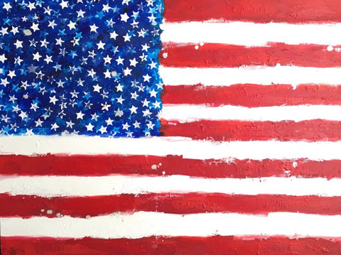 America 2015, Original American Flag Art, 36 by 48 Inches