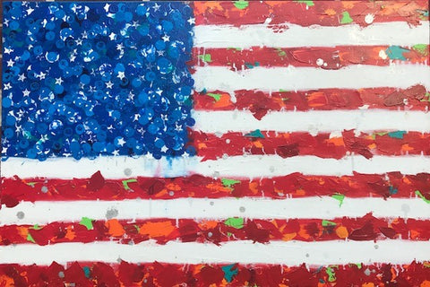 "Art | America | Original Acrylic on Gallery Canvas by Fabiano Amin | 36"" x 24""-Acrylic Painting-Sterling-and-Burke"