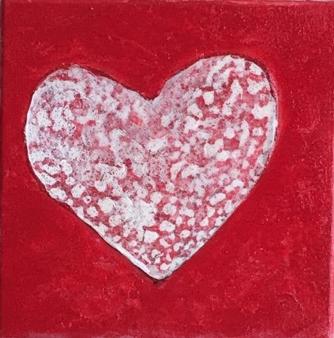 Amor | Original Acrylic Mixed on Gallery Canvas | 8 by 8 Inches-Acrylic Painting-Sterling-and-Burke