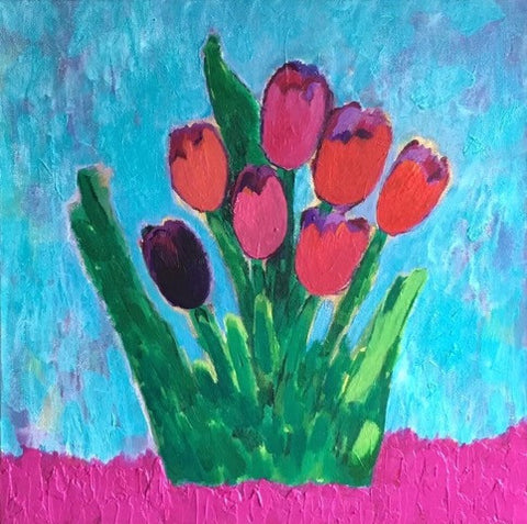 Black Tulip, Original Painting, 24 by 24 Inches