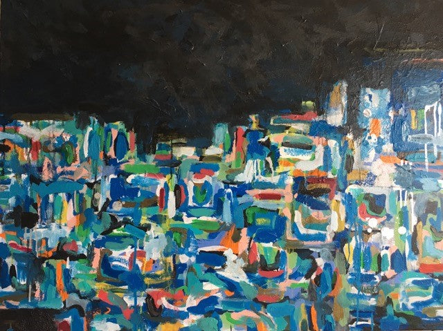 Blue Box | Acrylic on Gallery Canvas | 30 by 40 Inches | Fabiano Amin-Acrylic Painting-Sterling-and-Burke
