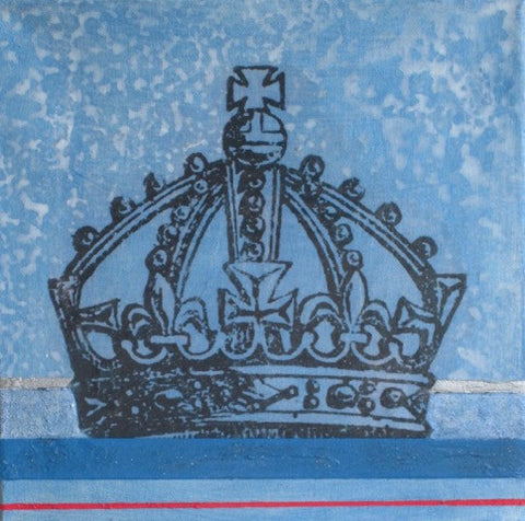 "Art | Blue Crown | Mixed Media on Gallery Canvas by Fabiano Amin | 10"" x 10""-Mixed Media-Sterling-and-Burke"