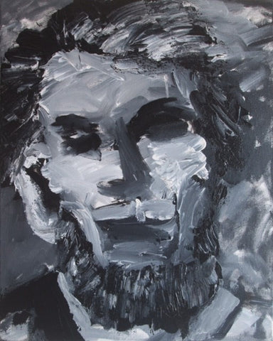"Art | Lincoln | Original Acrylic Mixed on Gallery Canvas by Fabiano Amin | 20"" x 16""-Acrylic Painting-Sterling-and-Burke"