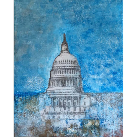 Capitol Blue | Original Mixed Media on Gallery Canvas | 20 by 16 Inches-Mixed Media-Sterling-and-Burke