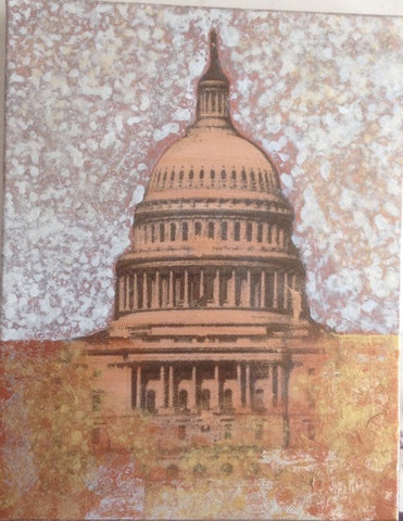 "Art | Capitol Bronze | Original Acrylic Mixed on Gallery Canvas by Fabiano Amin | 14"" x 11"""