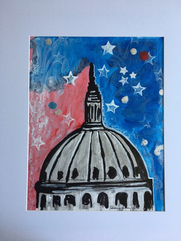 "Art | Capitol DC | Acrylic on Paper by Fabiano Amin | 14"" x 11""-Acrylic on Paper-Sterling-and-Burke"