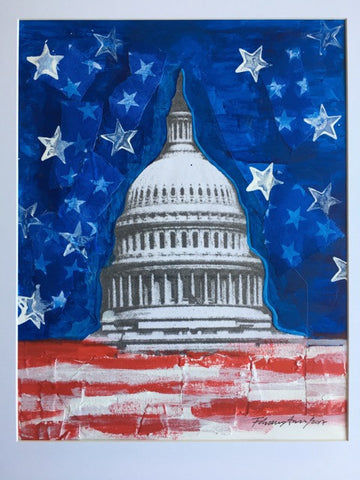 "Art | Capitol-Star-Blue | Original Acrylic Mixed on Paper by Fabiano Amin | 14"" x 11""-Mixed Media-Sterling-and-Burke"