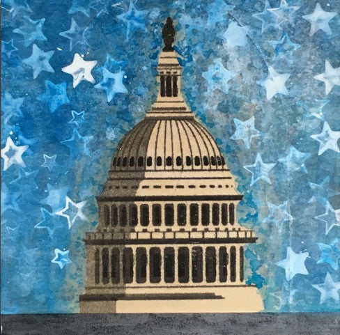 "Art | Capitol White Star | Original Mixed Media on Wood by Fabiano Amin | 12"" x 12""-Mixed Media-Sterling-and-Burke"