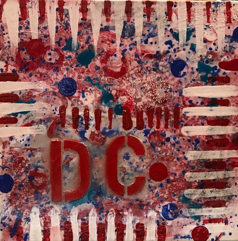 "Art | Celebrate DC 2 | Original Acrylic Mixed on Gallery Canvas by Fabiano Amin | 12"" x 12""-Mixed Media-Sterling-and-Burke"