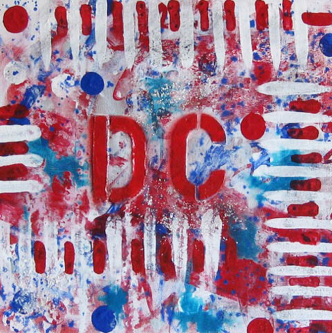 "Celebrate DC | Original Acrylic Mixed on Gallery Canvas by Fabiano Amin | 12"" x 12""-Mixed Media-Sterling-and-Burke"