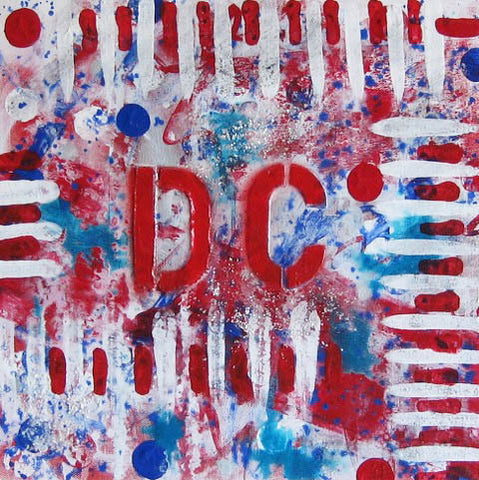 "Art | Celebrate DC | Original Acrylic Mixed on Gallery Canvas by Fabiano Amin | 12"" x 12""-Mixed Media-Sterling-and-Burke"
